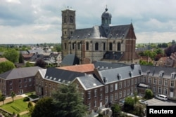 A drone picture shows Belgian Abbey of Grimbergen, which returns to brewing after a break of more than 200 years with a new microbrewery, in Grimbergen, Belgium May 26, 2021. Picture taken May 26, 2021. REUTERS/Yves Herman
