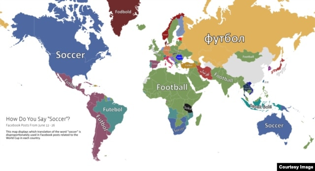 "This map provided by Facebook, shows how people say ""soccer"" all over the world."