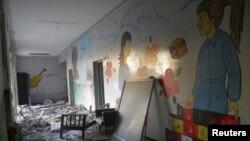 Debris strewn throughout destroyed school at Al Khalidieh, near Homs, September 25, 2012.