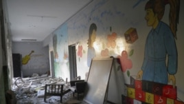 Debris strewn throughout destroyed school at Al Khalidieh, near Homs, September 25, 2012.