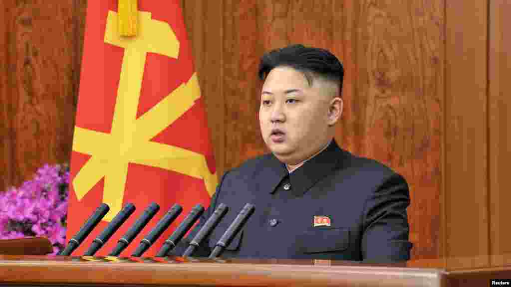 North Korean leader Kim Jong-un delivers a New Year address in Pyongyang in this picture released by the North's official KCNA news agency, January 1, 2013.