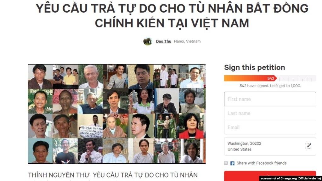 """Thỉnh nguyện thư của giới hoạt động yêu cầu lãnh đạo Việt Nam thả các tù nhân lương tâm. Người phát ngôn BNG Lê Thị Thu Hằng nói ở Việt Nam không có cái gọi là """"tù nhân lương tâm."""""""
