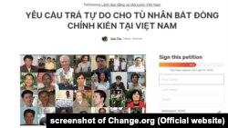 Giới hoạt động gửi thỉnh nguyện thư yêu cầu lãnh đạo Việt Nam thả các tù nhân lương tâm