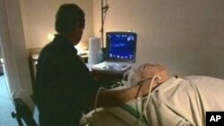 Patient in a hospital undergoing heart tests