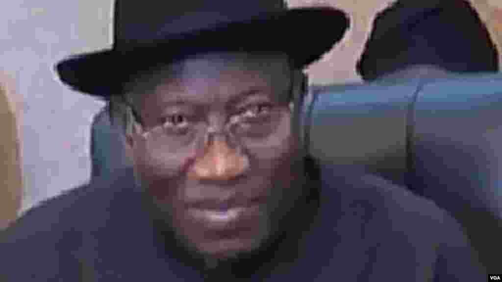 Shugaban Najeriya Goodluck Jonathan. huwagabannin Najeriya da Chadi, Nijar dakuma Kamaru Zasu Yaki Boko Haram, Oktoba 9, 2014.