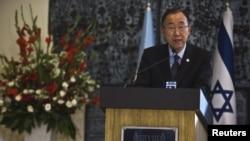 20일 반기문 유엔 사무총장이 예루살렘에서 기자회견을 하고 있다.