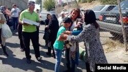 لحظه آزادی آزیتا رفیعزاده، شهروند بهایی از زندان اوین