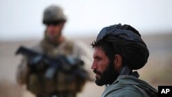 An Afghan farmer watches as U.S. Marines from 1st Battalion, 6th regiment, Charlie company patrol around Huskers camp on the outskirts of Marjah in central Helmand, 26 Jan 2010