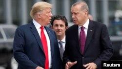 Donald Trump et Recep Tayyip Erdogan au sommet de l'Otan à Bruxelles, Belgique, le 11 juillet 2018.
