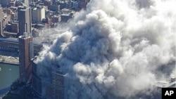 9.11 테러 당시 세계무역센터 상공에서 경찰헬기로 촬영한 사진.