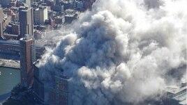 9.11 테러 당시 경찰헬기로 상공에서 찍은 세계무역센터 모습.