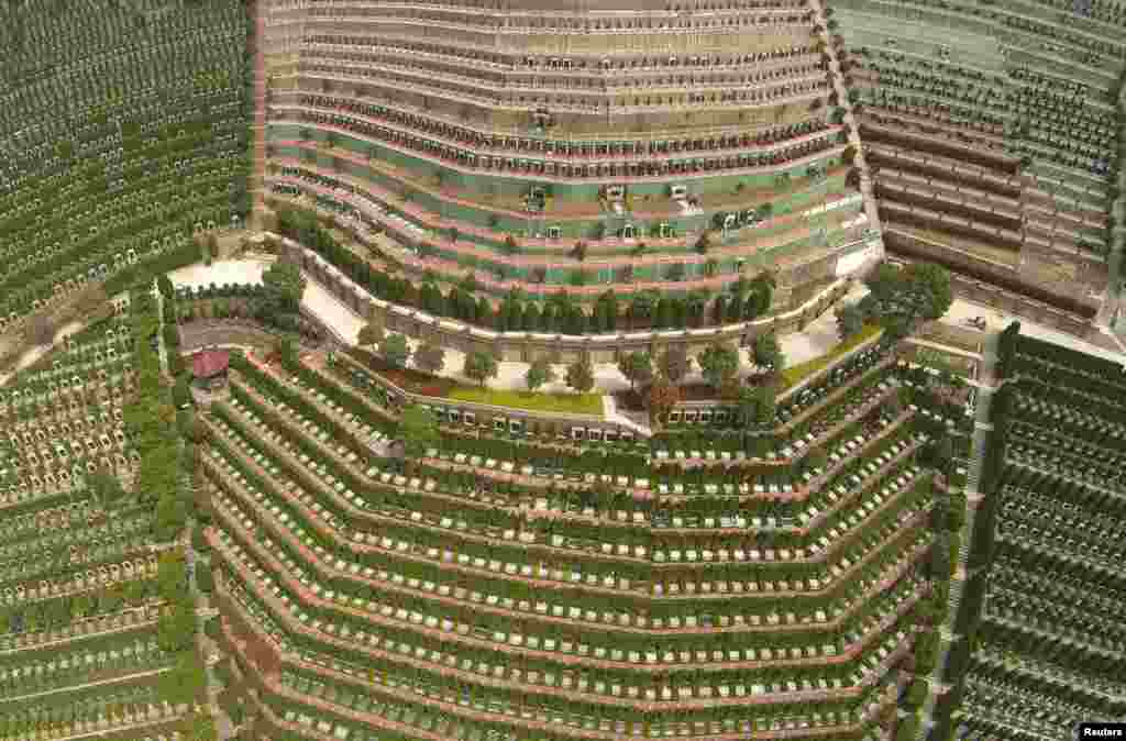 An aerial view of a public cemetery ahead of the Qingming Festival, or Tomb Sweeping Day in Hangzhou, Zhejiang province, China.