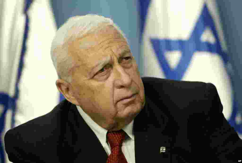 Israeli Prime Minister Ariel Sharon, the hard-charging Israeli general and prime minister who was admired and hated for his battlefield exploits, died on Jan. 11, 2014. (AP Photo/Oded Balilty, File)