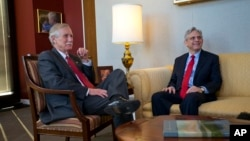 Judge Merrick Garland, right, President Barack Obama's choice to replace the late Justice Antonin Scalia on the Supreme Court, meets with Sen. Angus King, an independent from Maine, on Capitol Hill in Washington, April 13, 2016.