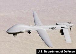 미군이 한국 군산기지에 배치한 것으로 알려진 MQ-1C '그레이 이글(Gray Eagle)' 무인공격기.