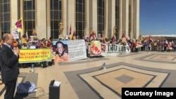 資料照片:全球釋放班禪喇嘛根敦確尼瑪團結運動的會場(2015年)