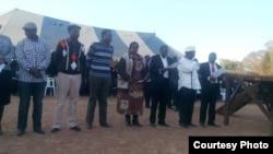 Temba Mliswa, Jabulani Sibanda, Emelia Mukarakatirwa, Morgan Tsvangirai and others at the peace rally. (Photo: Charles Nyoni)