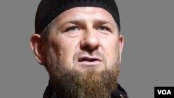 Ramzan Kadyrov headshot, as Chechnya regional leader, graphic element on gray