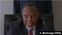 Former South African president Kgalema Motlanthe addresses a public hearing at Zimbabwe's post-election commission of inquiry in Harare, Oct. 16, 2018.