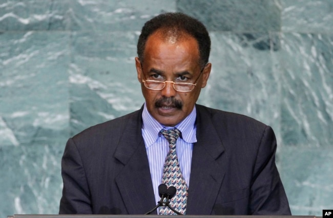 FILE - President Isaias Afwerki of Eritrea addresses the 66th session of the U.N. General Assembly at U.N. headquarters, Sept. 23, 2011.