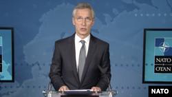 北约秘书长斯托尔滕贝格(Jens Stolenberg)召集记者会(北约2020年4月15日照片)