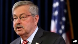 FILE - Iowa Gov. Terry Branstad speaks during a news conference, May 23, 2017, at the Statehouse in Des Moines, Iowa. Branstad is the next U.S. ambassador to China in the Trump administration.