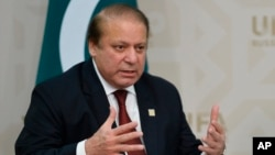 FILE - Pakistani Prime Minister Nawaz Sharif, July 10, 2015. Sharif's family has defended ownership of their offshore companies and property, denying any wrongdoing in their development.