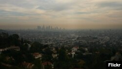 FILE - Air pollution is seen hanging over the city of Los Angeles.