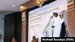 Imam Muhammad Nurayn Ashafa berbicara dalam sebuah kuliah umum di Yogyakarta.