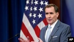 جان کربی سخنگوی وزارت دفاع آمریکا در نشست خبری پنجشنبه ۸ مهر ۱۴۰۰ در پنتاگون