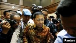印度尼西亚前议长诺凡托在雅加达出庭(2018年4月24日)