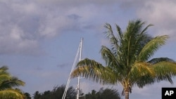 This undated photo courtesy of a family friend shows the S/V Quest yacht that belonged to Jean and Scott Adams