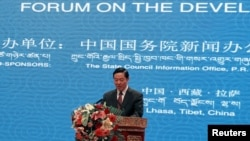 Liu Qibao, Beijing's propaganda chief, speaks during the Tibet Development Forum in Lhasa, Tibet Autonomous Region, July 7, 2016.