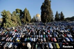2014年10月4日巴勒斯坦人在耶路撒冷老城阿克萨清真寺前祈祷庆祝穆斯林宰牲节