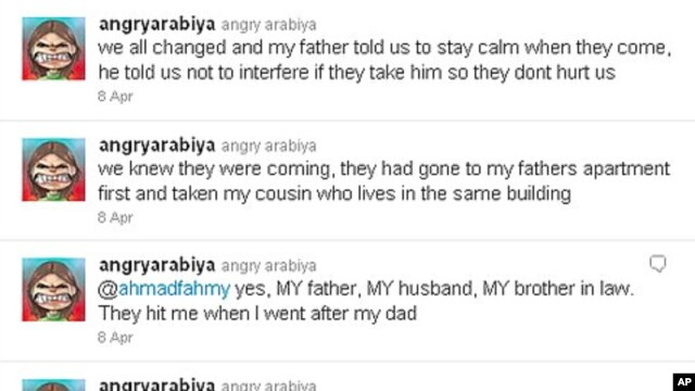 A screen shot of Zainab Alkhawaja's Twitter feed the night of her father's and other relatives' arrests. On Twitter and in the blogosphere Zainab is known as AngryArabiya.