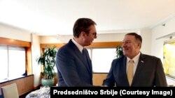 Predjsednik Srbije Aleksandar Vučić i državni sekretar SAD Mike Pompeo pre radnog ručka u New Yorku, 20. avgusta 2019.