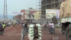 Pushing Goods in Carts Provides Needed Work for E. Congolese