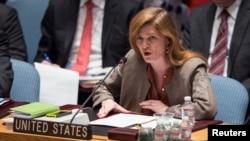 Duta Besar AS untuk PBB Samantha Power berbicara di Dewan Keamanan PBB di New York (15/3).