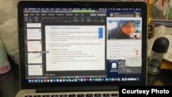 Tampilan layar kuliah daring di FEB UGM. (Foto courtesy: Rimawan P)