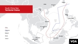 South China Sea territorial claims map. China uses a U-shaped nine-dash line that leaves spaces between those lines open to interpretation.