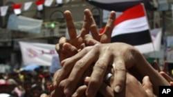 也門反對派人士將手連手堅持總統薩利赫必須下台