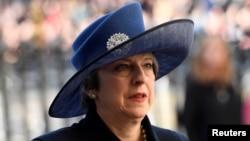英國首相特蕾莎梅3月13日抵達倫敦的西敏寺參加英聯邦日活動