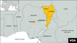 Carte des Etats de Borno, Yobe et de l'Adamaoua