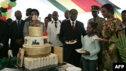 Zimbabwe President Robert Mugabe (4th R) and first lady Grace Mugabe (2nd R) stand with the presidents birthday cake among guests on the occasion of his 89th birthday celebrations held in his honor at the State House, February 20, 2013.