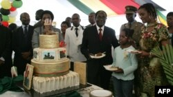Zimbabwe President Robert Mugabe (4th R) and first lady Grace Mugabe (2nd R) stand with the president's birthday cake among guests on the occasion of his 89th birthday celebrations held in his honour at the State House, February 20, 2013, the eve of his birthday. Zimbabwe is expected to hold a constitutional referendum on March 16, 2013 and elections in July, which will end the unity government, but no dates have been set. AFP PHOTO / JEKESAI NJIKIZANA