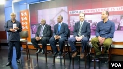"VOA ""Straight Talk Africa"" host Shaka Ssali, left, leads an Ebola discussion with Ambassador H.E. Bockari K. Stevens of Sierra Leone, Dr. Malonga Miatudila, and Ebola survivors Rick Sacra and Ashoka Mukpo, a physician and journalist, respectively, Nov. 19"