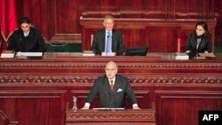 Tổng thống lâm thời sắp mãn nhiệm Fouad Mebazza phát biểu trong phiên khai mạc Quốc hội lập hiến Tunisia hôm 22/11/11