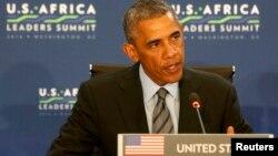 바락 오바마 미국 대통령이 6일 워싱턴 국무부 건물에서 열린 아프리카 정상회의에서 발언하고 있다.