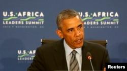 8月6日,美国总统奥巴马美非峰会的首次领导人讨论会上发表讲话。