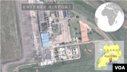 Foto satelit bandara Entebbe di Uganda (foto: dok).
